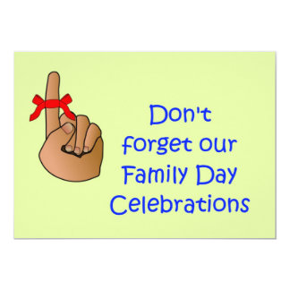 Family day Invitation with don't forget ribbon