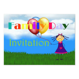 Family day Invitation with girl holding balloons