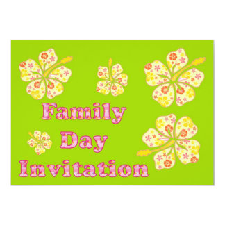 Family day Invitation with hibiscus flowers
