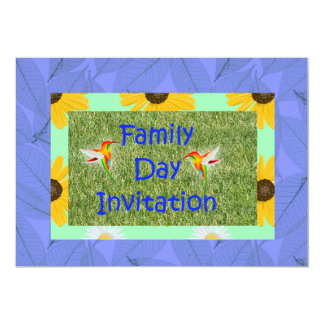 Family day Invitation with hummingbrids