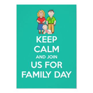 Family day Invitation with parents &baby keep calm