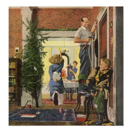 Family Decorating the House for Christmas Print
