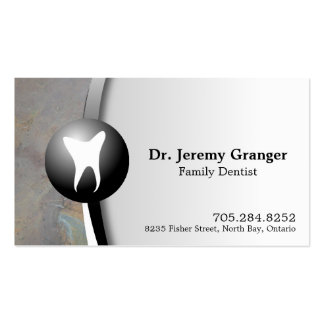 Family Dentist Business Card - Tooth Grey & White