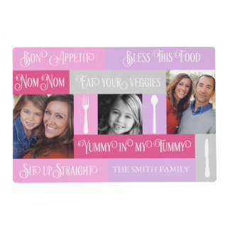 Family Dinner Typography Photo Monogram Placemat