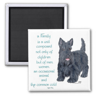 Family Dynamics - Scottish Terrier Wit & Wisdom 2 Inch Square Magnet