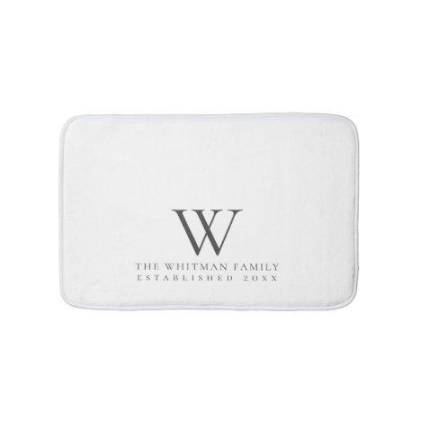 Family Elegant Monogram White Charcoal Bath Mat