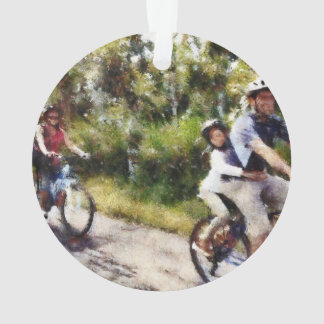 Family enjoying a cycle ride ornament
