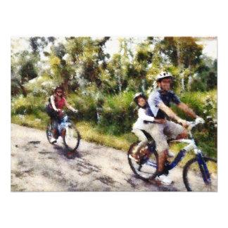 Family enjoying a cycle ride photo print