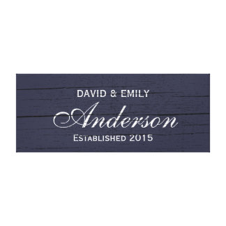 Family Established Dark Blue Family Name Sign