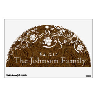 Family Established Rustic Brown Leather White Wall Decal
