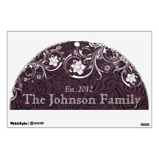 Family Established Rustic Eggplant Leather White Wall Decal