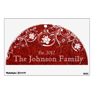 Family Established Rustic Red Leather White Wall Sticker