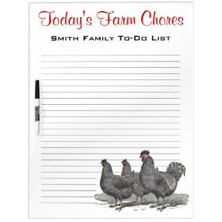 Family Farm Chores, Work Reminder Chickens Dry-Erase Board