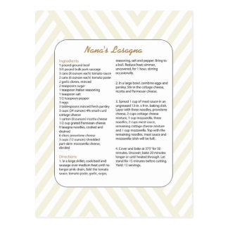 Family Favorite Recipe Chevron - Lasagna Postcard