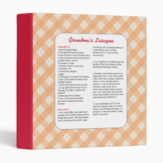 Family Favorite Recipe Retro - Lasagna Binder