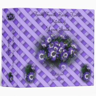 Family Favorite Recipes -- Purple Flowers design 3 Ring Binder