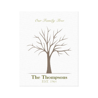 Family Fingerprint Tree Canvas Print