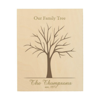 Family Fingerprint Tree Wood Wall Decor