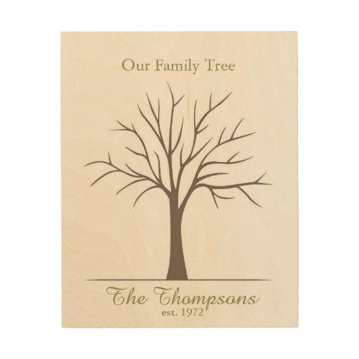 Family Fingerprint Tree Wood Wall Decor   Zazzle