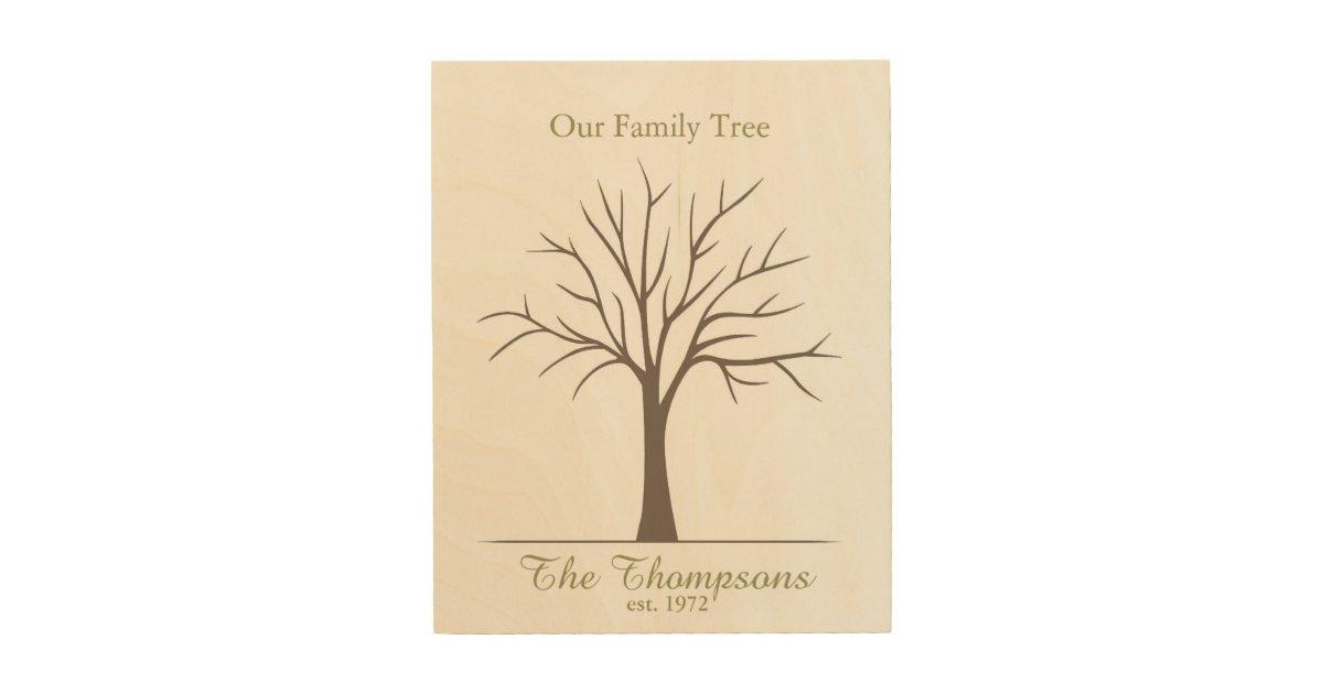 Family Fingerprint Tree Wood Wall Decor   Zazzle.com