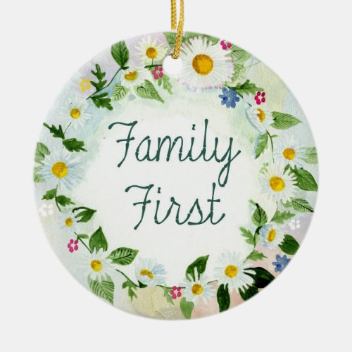 Family First Floral Daisy Chain Colorful Garden Ceramic Ornament