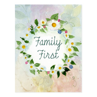 Family First Inspirational Quote Postcard