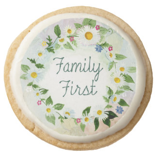 Family First Inspirational Quote Round Shortbread Cookie