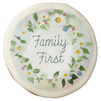 Family First Inspirational Quote Sugar Cookie