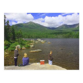 Family Fishing at Sandy Stream Pond Mount Katahdin Postcard