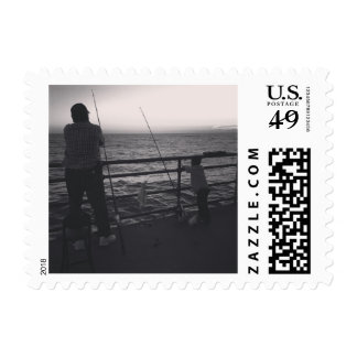 Family & Fishing Black and White Photo Stamp