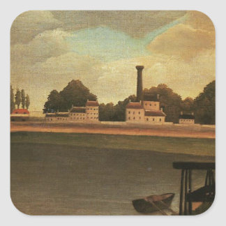 Family Fishing by Henri Rousseau Square Sticker