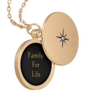 family for Life gold round necklace