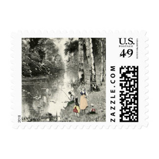 Family Forest Vintage Art 1800s Waldbache Munthe Postage