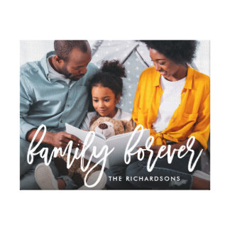 Family Forever | Trendy Brush Script with Photo Canvas Print