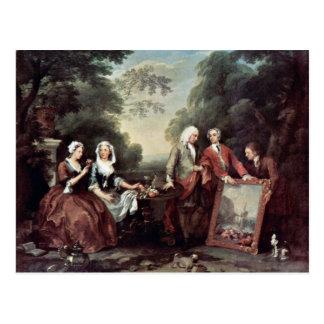 Family Fountaine Family Portrait By Hogarth, Postcard