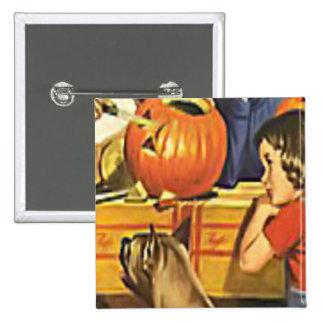 Family fun at Halloween Pinback Button