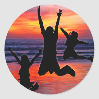 Family Fun, Father's Day Beach Jump Classic Round Sticker