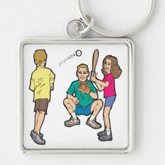 Family Fun Silver-Colored Square Keychain