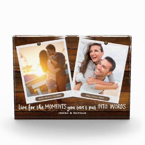 Family Fun Times  Add Your Own Two Photos Custom Acrylic Award
