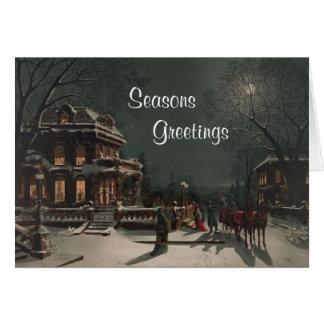 Family Gathering Vintage Print Christmas Card