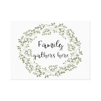 """Family gathers here"" Farmhouse Style Wall Art"