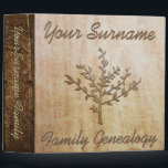 "Family Genealogy Custom Binder<br><div class=""desc"">Wood texture print family tree genealogy keepers.</div>"