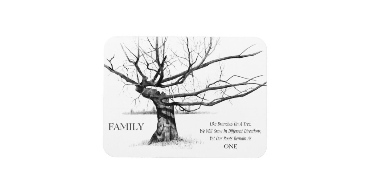 Family: Gnarled Tree: Love, Unity: Pencil Drawing Magnet
