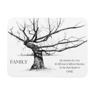 Family: Gnarled Tree: Love, Unity: Pencil Drawing Rectangular Photo Magnet