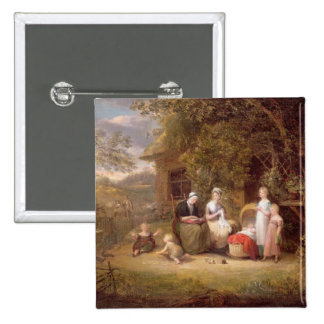 Family Group before a Thatched Cottage (oil on can Button