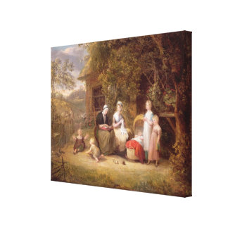Family Group before a Thatched Cottage (oil on can Canvas Print