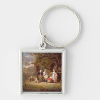 Family Group before a Thatched Cottage (oil on can Keychains
