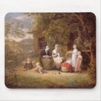 Family Group before a Thatched Cottage (oil on can Mouse Pad