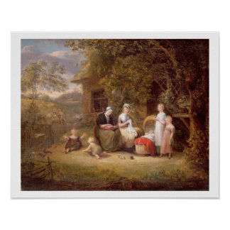 Family Group before a Thatched Cottage (oil on can Poster