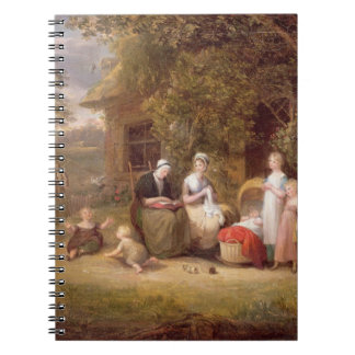 Family Group before a Thatched Cottage (oil on can Spiral Notebook